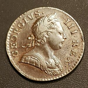 1771-Great-Britain-George-III-1-2-Penny-KM-601-Coin-FREE-SHIPPING