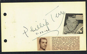 Phillip Terry (d. 1993) signed autograph 4x6 Album Page Actor: To Each His Own