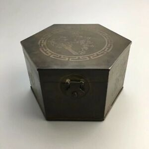 Marked Chinese Dynasty old copper magpies plum blossom Jewelry Boxes Storage Box