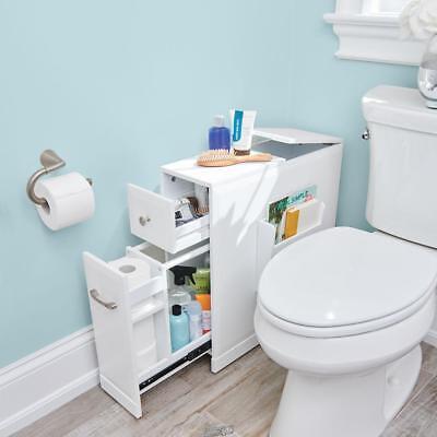 Tight Space Bathroom Storage Organizer Cabinet White Color Wood