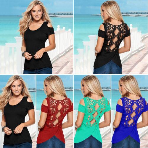 Damen Spitze Bluse Kurzarm Top Sommer Schulterfrei Hemdbluse Slim Tunika T-shirt