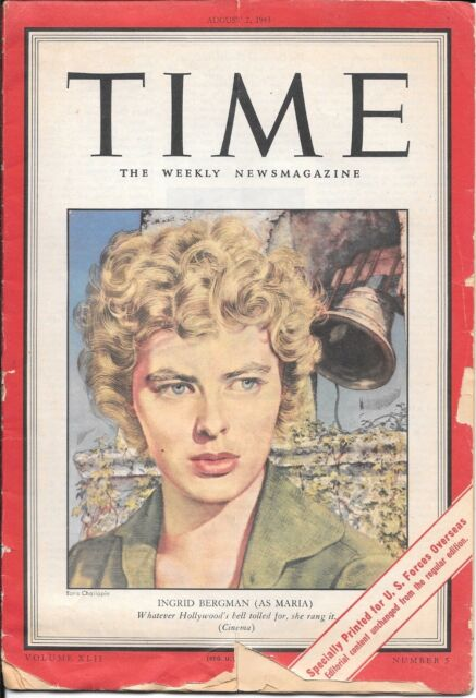 Time Magazine Pacific Pony Edition. August 2, 1943. Ingrid Bergman. WW2.