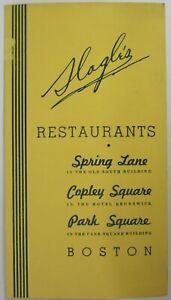 Vintage Restaurant Menu Slagle's Old South Building Boston Massachusetts 1940