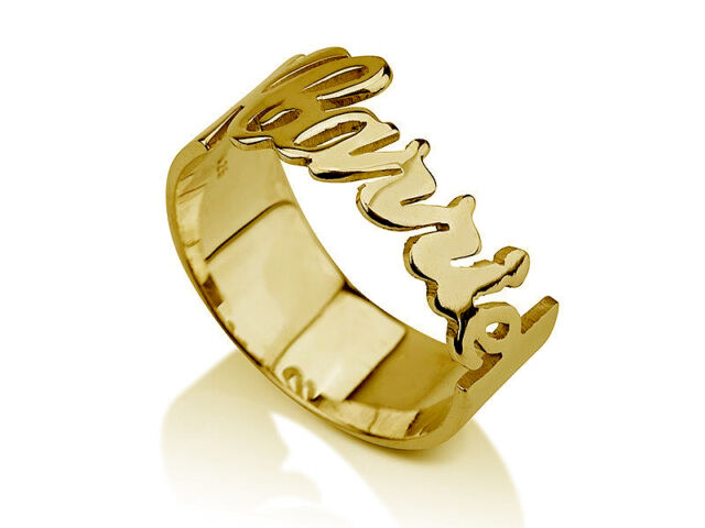 10k Solid Yellow Gold Carrie Style Open Design Personalized Name Ring