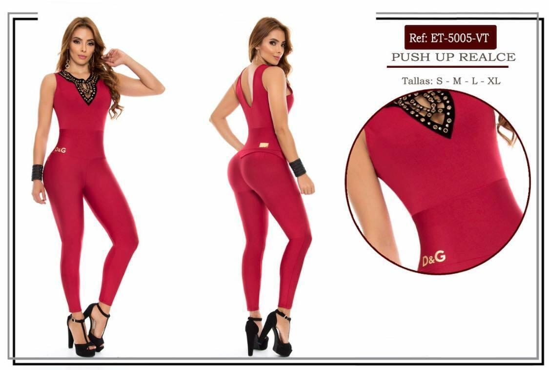 Colombian Jumpsuit-Enterizo PitBull Push Up-Butt Lift Levantacola REF 5005 rot
