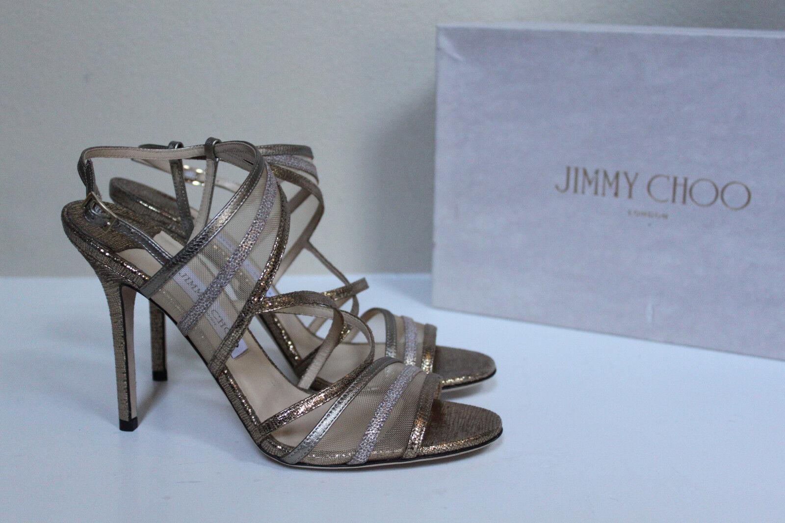 New sz 9    39 Jimmy Choo Visby Bronze Metallic Crisscross Ankle Sandal scarpe  100% autentico
