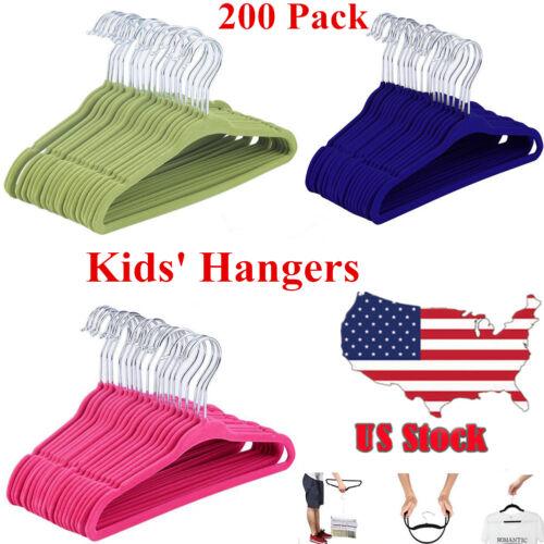 Lot200 Non-Slip Kids Children Child Baby Coat Clothes Hangers Velvet Flocking US