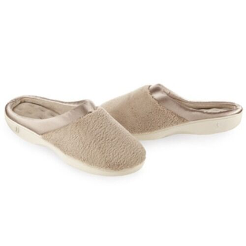 ISOTONER Microterry PillowStep Satin Cuff Clog Slippers for Women : Taupe Beige