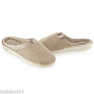ISOTONER-Microterry-PillowStep-Satin-Cuff-Clog-Slippers-for-Women-Taupe-Beige