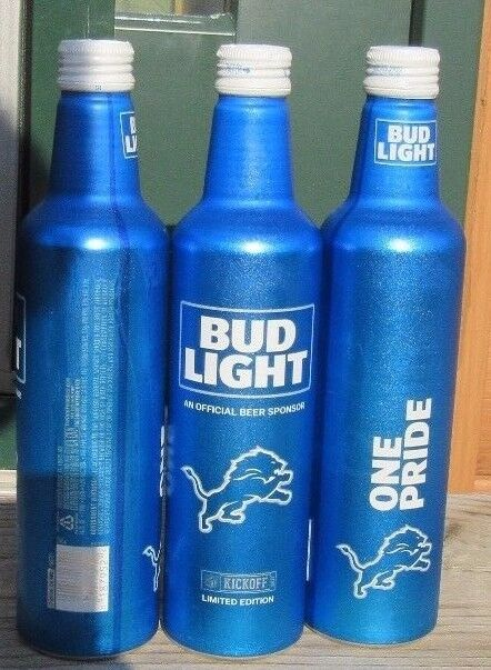2017 bud light nfl kickoff detroit lions aluminum bottle beer can