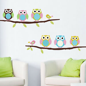 Cute-Mural-Wall-Stickers-Decal-Owl-Birds-Branch-Removable-Decor-Kids-Baby-Room