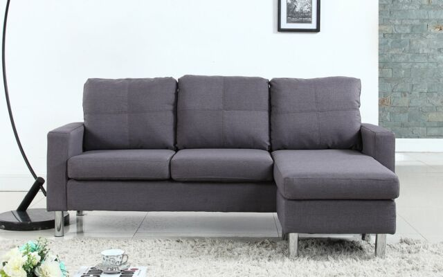 Outstanding Modern Small Space Reversible Linen Fabric Sectional Sofa In Color Light Grey Cjindustries Chair Design For Home Cjindustriesco