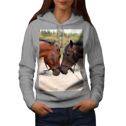 Animal Casual Hooded Sweatshirt Wellcoda Horse Couple Photo Womens Hoodie