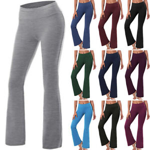 High Waist Yoga Pants Womens Workout Stretch Wide Flare Leg Bootcut Gym Leggings