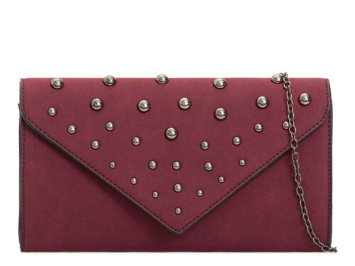 Ladies Faux Suede Studded Clutch Evening Bag Party Envelope Handbag Purse KT2077