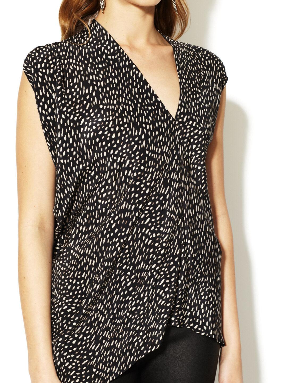 NWT  Cynthia Steffe Asymmetrical Print Silk Blouse Top