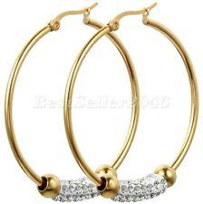 Womens Gold Tone Smooth Huggie 45mm Large Hoop Stainless Steel Dangle Earrings