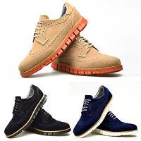 Mens Shoes Beige Black Blue Suede Brogue Trainers Smart Casual 6 7 8 9 10 11