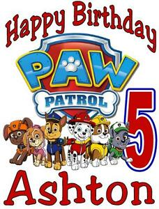 Image Is Loading PAW PATROL BIRTHDAY T SHIRT Personalized Any Name