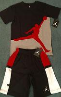 NWT Nike Jordan Boys L Black/Red/White Embroidered Basketball Shorts Set L 14-16