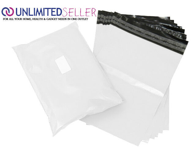 50 LARGE WHITE BAGS OF 10x14 INCH STRONG POLY MAILING POSTAGE 50MU SELF SEAL XL