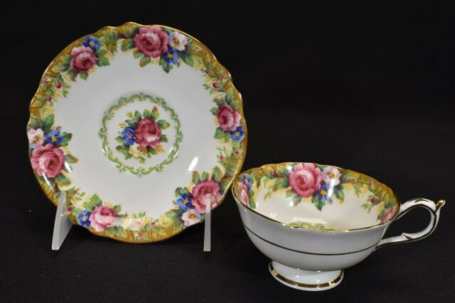Paragon Cup & Saucer Double Warrant By Appointment Tapestry Rose