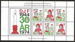 Denmark-DJF-1974-30-years-Local-Xmas-TB-Seal-Sheet-VF-NH-Dull-gum