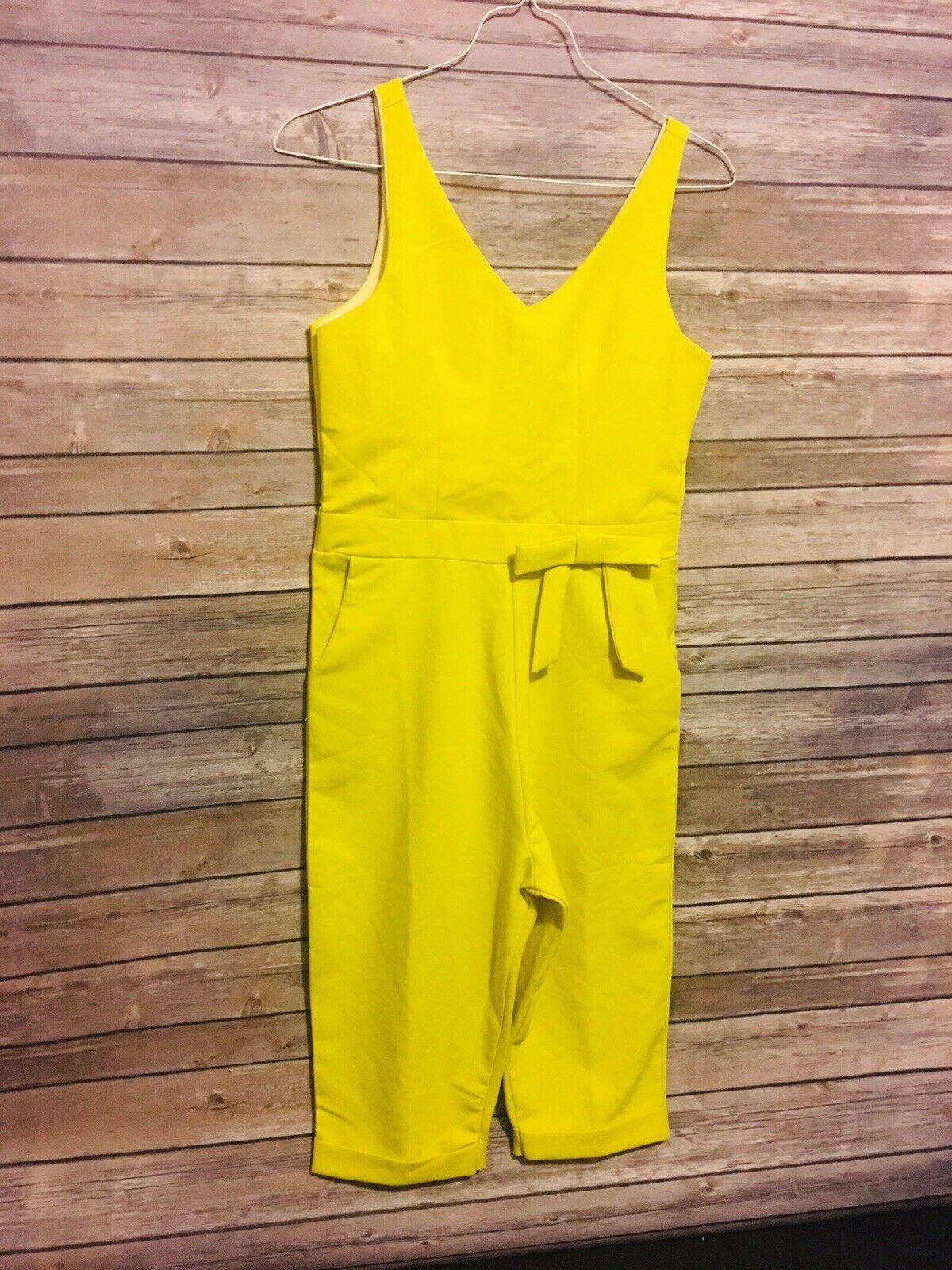 Womens Jumpsuit Capri Shorts Yellow Retro Romper With Bow Nice