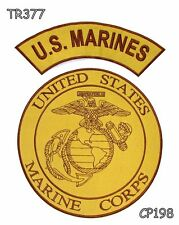 U.S.MARINES and MARINE CORP Brown on Gold Iron on 2 Patches Set for Biker Jacket