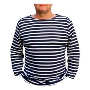 Mariniere-coton-manches-longues-unisexe-rayure-Marine-Blanc-du-XS-au-XXXL