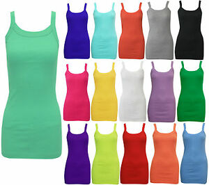 NEW-LADIES-WOMENS-STRETCHY-SUMMER-RIB-VEST-TOP-T-SHIRT-RIB-STRAP-SIZE-8-14