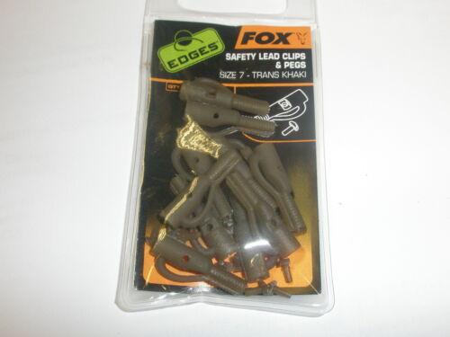 Fox Edges Sicherheit Kabel Clips und Fußrasten sz7 10pk Trans Khaki Karpfen