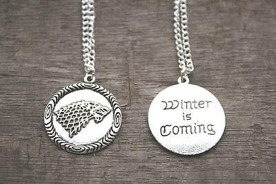 Game of Thrones House Stark Symbol Direwolf Head Necklace Pendant Charm 2 sided