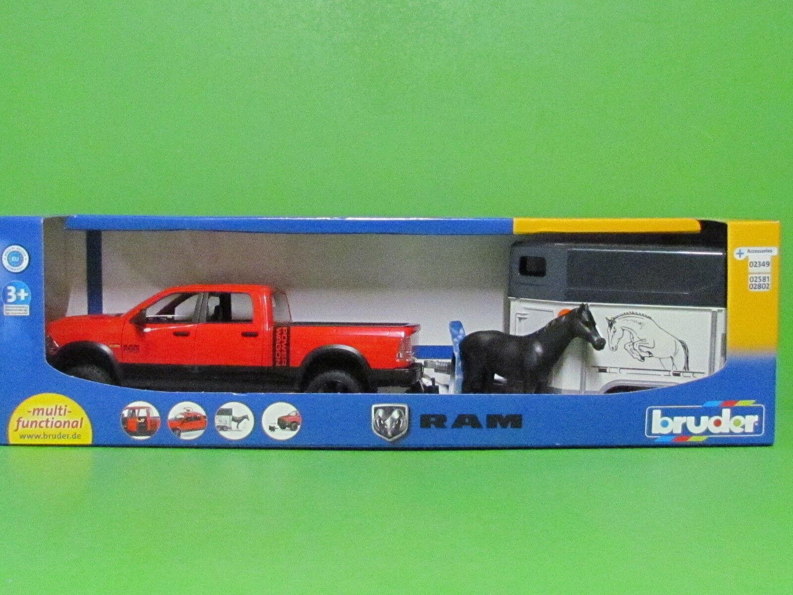 Bruder® 02501 RAM 2500 Power Wagon mit Pferdeanhänger - Blitzversand Blitzversand Blitzversand DHL-Paket 8416c8