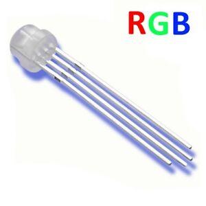 Kathode Minus S581-10 Stück LED 5mm RGB 4 Pin diffus Kurzkopf Flachkopf gem