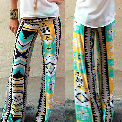 Hot Women Casual Pants Wide Leg Long Bohemian Loose Palazzo Trousers Beach Pants
