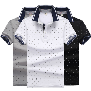 Fashion-Men-039-s-Shirt-Casual-Cotton-Slim-Short-Sleeve-T-Shirts-Formal-Tee-Tops