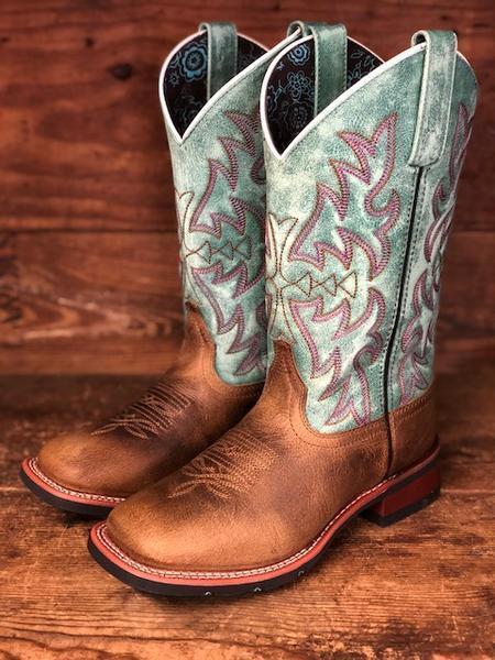 Larojoo para Mujer Marrón Y Turquesa Cuadrado Toe Occidental Occidental Occidental botas 5607  Los mejores precios y los estilos más frescos.