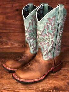 c2b4c8c9f06 Details about Laredo Women's Brown & Turquoise Square Toe Western Boots 5607