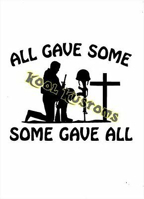 """ProSticker 1093 4/"""" All Gave Some Some Gave All Veteran Decal Sticker One"""