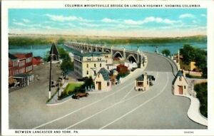 1920-039-S-COLUMBIA-WRIGHTSVILLE-BRIDGE-LINCOLN-HWY-COLUMBIA-PA-POSTCARD-T23