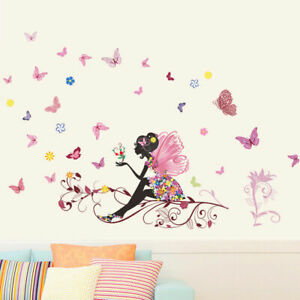 Removable-Flower-Fairy-Butterfly-Girl-Wall-Sticker-Kid-Art-Room-Decal-G8R4