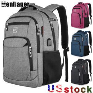 Men Women 15.6inch Laptop Backpack Business Travel School Bag USB Charging Port