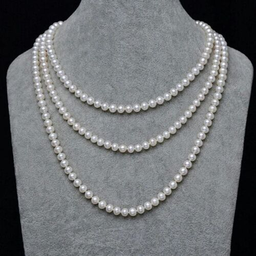 7-8 mm blanc naturel collier de perles AAA Super Long 100 in environ 254.00 cm