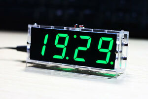 electronic clock gree LED microcontrolle<wbr/>r digital time Light Control Temperature