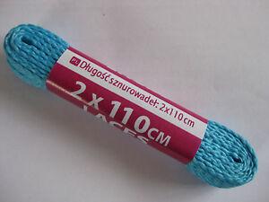 1-Pair-LIGHT-BLUE-Shoe-Boot-Trainer-Laces-110-cm-Flat