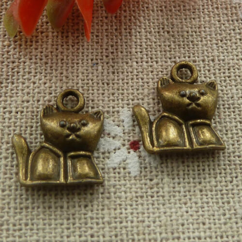 Free Ship 280 pieces Antique bronze cat charms 16x14mm #1117