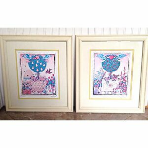 Mary-Engelbreit-Pair-2-Signed-Numbered-Limited-Framed-Print-Topiary-15x17