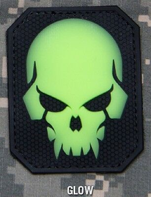 PIRATE SKULL GLOW 3D PVC TACTICAL OPS ARMY MORALE VELCRO® BRAND FASTENER PATCH