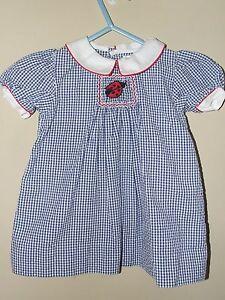 Petit-Ami-6M-Smocked-Ladybug-Dress-Blue-Gingham-Seersucker-Red-Summer-Boutique